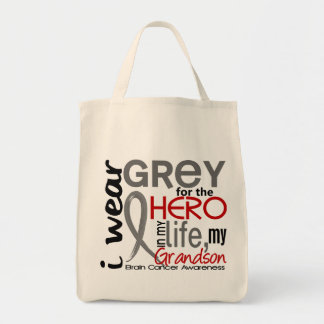Grey For My Hero 2 Grandson Brain Cancer Tote Bag