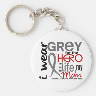 Grey For My Hero 2 Mom Brain Cancer Keychain