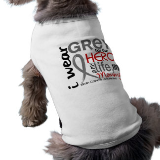 Grey For My Hero 2 Mommy Brain Cancer T-Shirt