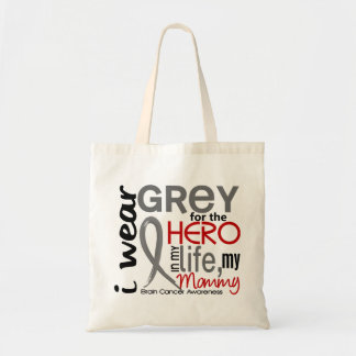 Grey For My Hero 2 Mommy Brain Cancer Tote Bag