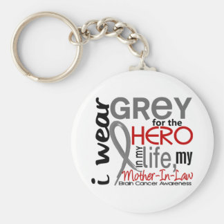 Grey For My Hero 2 Mother-In-Law Brain Cancer Keychain
