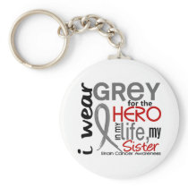 Grey For My Hero 2 Sister Brain Cancer Keychain