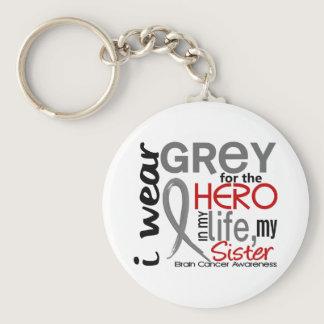 Grey For My Hero 2 Sister Brain Cancer Keychain