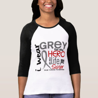 Grey For My Hero 2 Sister Brain Cancer Shirt