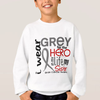 Grey For My Hero 2 Sister Brain Cancer Sweatshirt