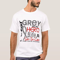 Grey For My Hero 2 Son-In-Law Brain Cancer T-Shirt