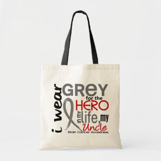 Grey For My Hero 2 Uncle Brain Cancer Tote Bag