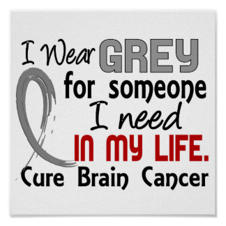 Grey For Someone I Need Brain Cancer Posters