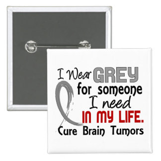 Grey For Someone I Need Brain Tumors Pinback Button