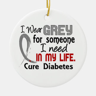 Grey For Someone I Need Diabetes Double-Sided Ceramic Round Christmas Ornament