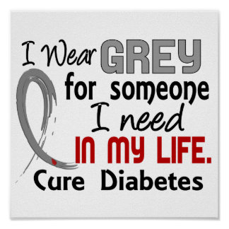 Grey For Someone I Need Diabetes Poster