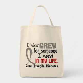 Grey For Someone I Need Juvenile Diabetes Bags