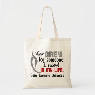 Grey For Someone I Need Juvenile Diabetes Canvas Bags