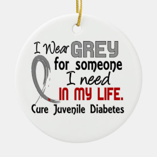 Grey For Someone I Need Juvenile Diabetes Double-Sided Ceramic Round Christmas Ornament