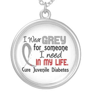 Grey For Someone I Need Juvenile Diabetes Round Pendant Necklace