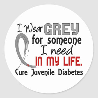 Grey For Someone I Need Juvenile Diabetes Classic Round Sticker