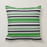 [ Thumbnail: Grey, Forest Green, Gray, White & Black Colored Throw Pillow ]