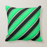 [ Thumbnail: Grey, Forest Green, Green, Black & White Colored Throw Pillow ]