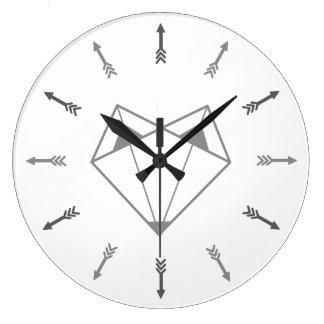 Grey fox large clock