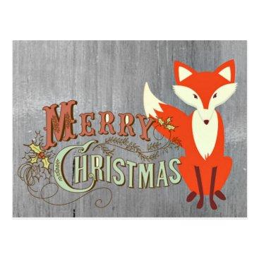 Christmas Themed Grey Fox Merry Christmas Cards