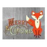 Grey Fox Merry Christmas Cards Postcard