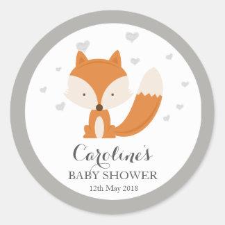 Grey Fox Woodland Love Heart Baby Shower Sticker Classic Round Sticker