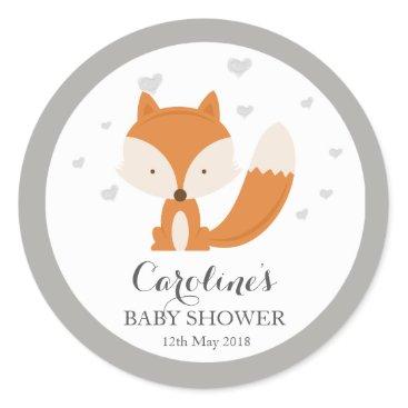 Valentines Themed Grey Fox Woodland Love Heart Baby Shower Sticker Classic Round Sticker