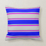 [ Thumbnail: Grey, Fuchsia, Light Gray, Blue & Mint Cream Throw Pillow ]