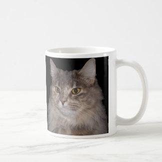 Grey Furry Cat on Coffee Cup Classic White Coffee Mug