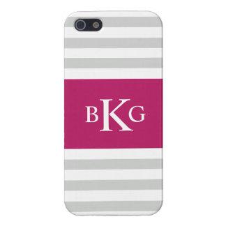 Grey Fushia Stripes Monogram iPhone 5 Cover