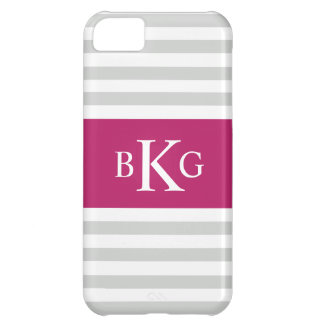 Grey Fushia Stripes Monogram iPhone 5C Cover