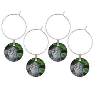Grey Fuzzy Kitty Cat Wine Glass Charm