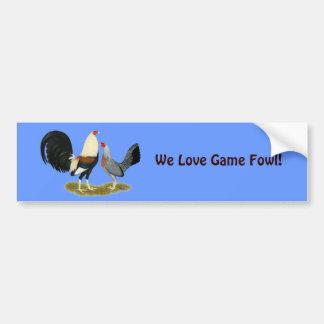 Grey Game Fowl Pair Bumper Sticker