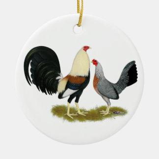 Grey Game Fowl Pair Ceramic Ornament