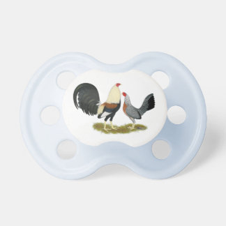 Grey Game Fowl Pair BooginHead Pacifier
