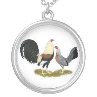 Grey Game Fowl Pair Pendant