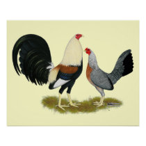 Grey Game Fowl Pair Poster