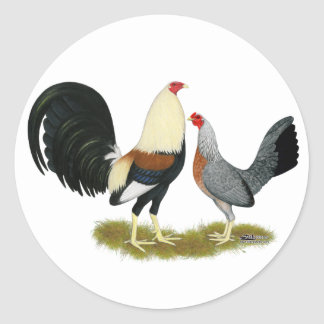 Grey Game Fowl Pair Stickers
