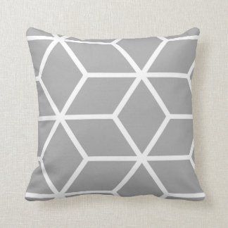 Grey Geometric Pattern Throw Pillow