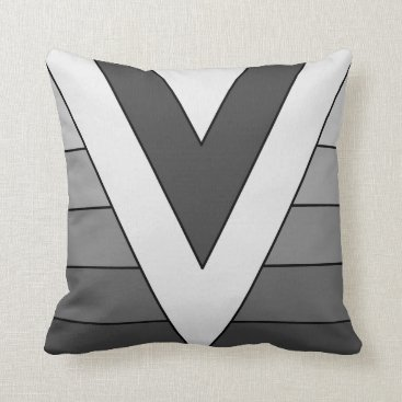 sterlingnights Grey Geometric triangle stripes Throw Pillow