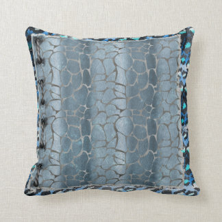 Grey Giraffe & Blue Leopard Print Pillow