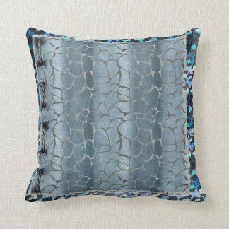 Grey Giraffe & Blue Leopard Print Pillow