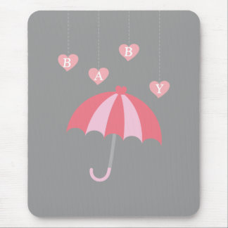 Grey Girl Baby Shower with Love and Pink Umbrella Mouse Pad