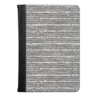 Grey Glittery Stripes Kindle Case