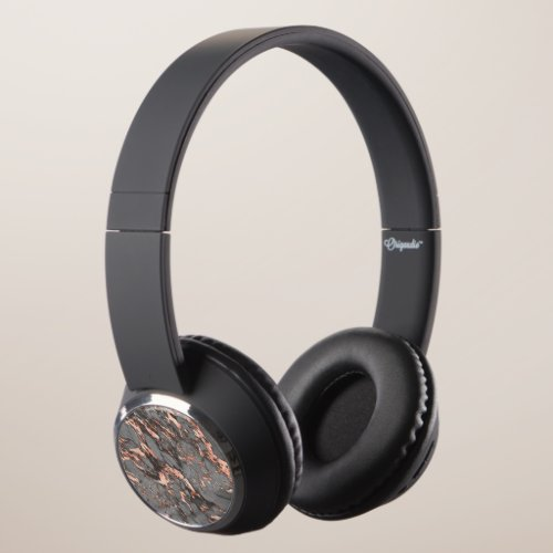 Grey gold rose marble modern design headphones