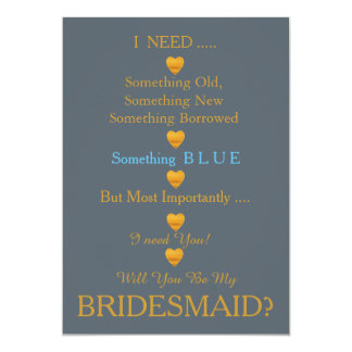 Grey & Gold with Heart Will You Be my Bridesmaid Card