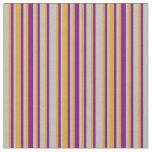 [ Thumbnail: Grey, Goldenrod, and Purple Lines Pattern Fabric ]