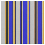 [ Thumbnail: Grey, Goldenrod, Blue, and Black Lined Pattern Fabric ]