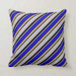 [ Thumbnail: Grey, Goldenrod, Blue, and Black Lined Pattern Throw Pillow ]