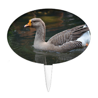grey goose swimming across bird picture cake toppers